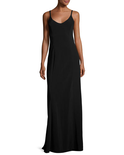 Tammi Sleeveless Scoop-Neck Gown, Black