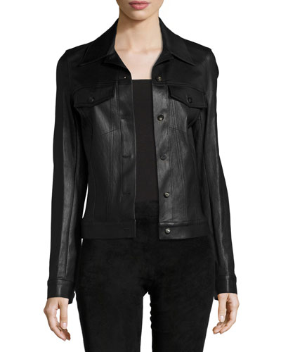 Coltra Lambskin Leather Jacket, Black