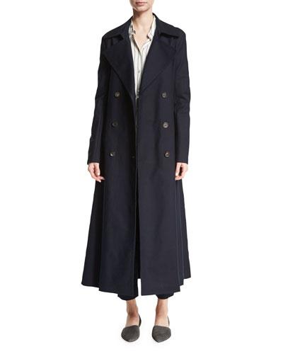 Frenton Double-Weave Trenchcoat, Navy