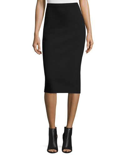 Rabina Scuba Pencil Midi Skirt, Black