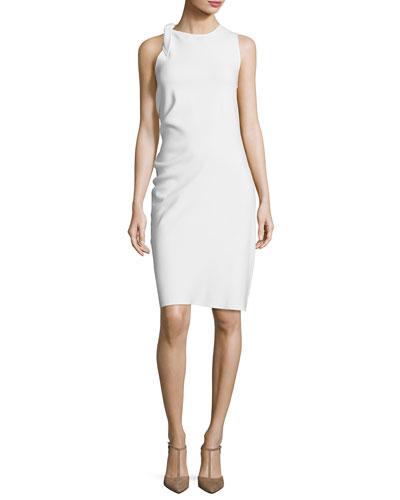 Sleeveless Knotted-Neck Dress, White