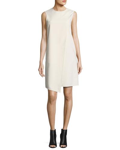 Sleeveless Asymmetric Shift Dress, Cream
