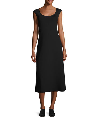 Rhode Cap-Sleeve Midi Dress, Black