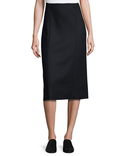 Herin Pencil Midi Skirt, Navy