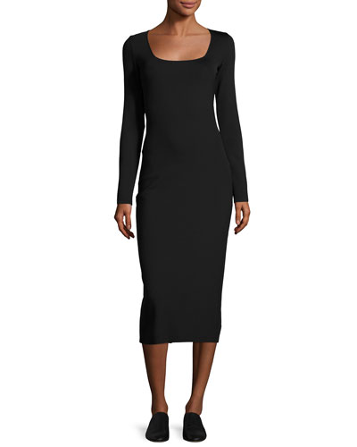 Xenia Square-Neck Midi Dress, Black