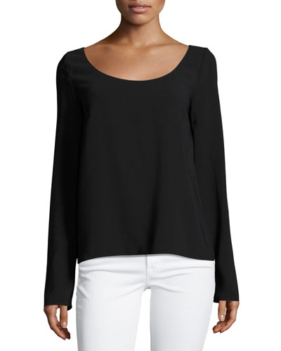 Dona Scoop-Neck Long-Sleeve Tee, Black