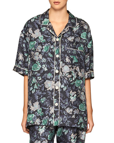 Short-Sleeve Floral Pajama Shirt, Navy