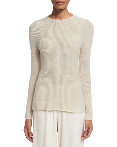 Blanca Ribbed Cashmere Sweater, Light Beige