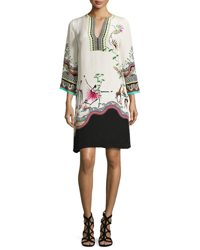 Tropical-Print Split-Neck Tunic Dress, Ivory