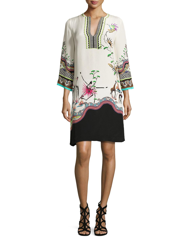 Tropical-Print Split-Neck Tunic Dress, Ivory