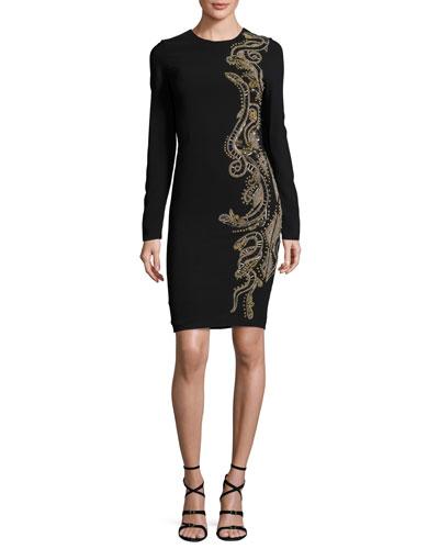 Embellished Long-Sleeve Sheath Dress, Black/Gold