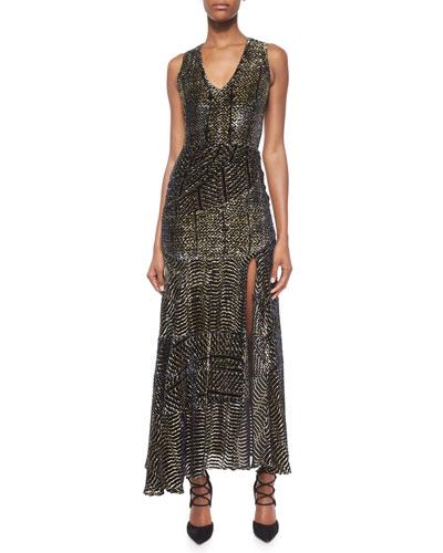 Asymmetric Ruched Velvet Devore Dress
