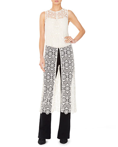 Gretchen Sleeveless Lace Slit-Front Tunic
