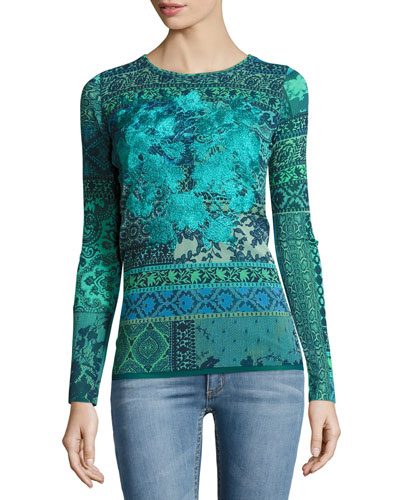 Long-Sleeve Mosaic-Print Stretch-Tulle Top