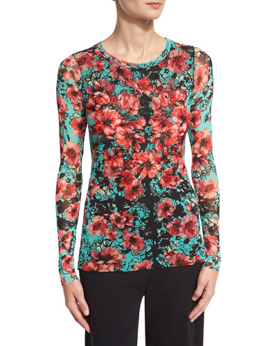 Long-Sleeve Floral-Print Stretch-Tulle Top, Multi