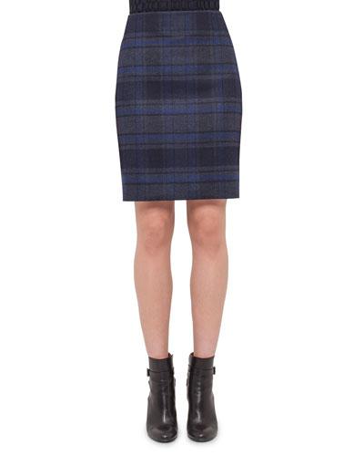 Plaid Wool Pencil Skirt, Blue Jay/Starling