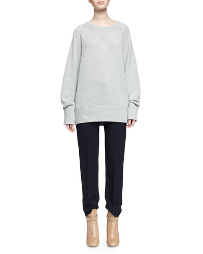 Chunky Cashmere Crewneck Sweater, Gray