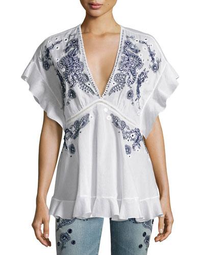 Embroidered V-Neck Cotton Blouse, White