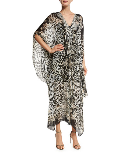 Leopard-Print Silk Caftan, Leopard