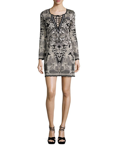 Lace-Up Jacquard Long-Sleeve Dress, Black/White