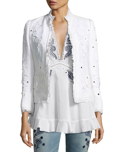 Floral Frayed Linen Jacket, White