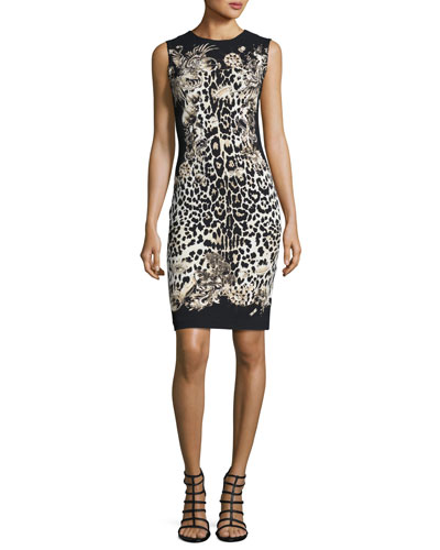 Leopard-Print Sleeveless Sheath Dress, Leopard