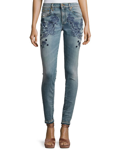 Embroidered Slim-Leg Jeans, Blue