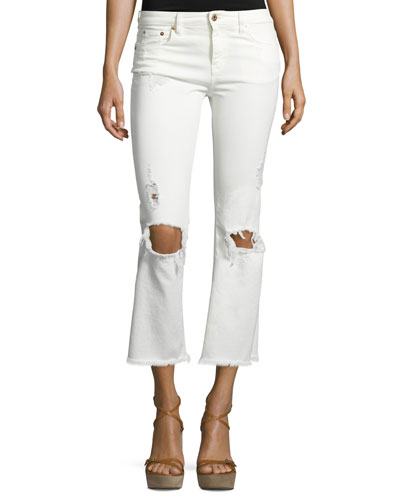 Five-Pocket Cropped Denim Leggings, White