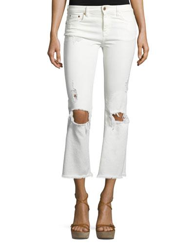 Five-Pocket Cropped Denim Leggings, White