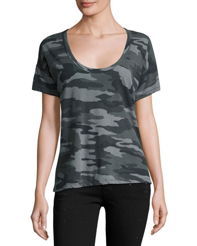 The Slouchy Scoop-Neck Tee, Black Camouflage