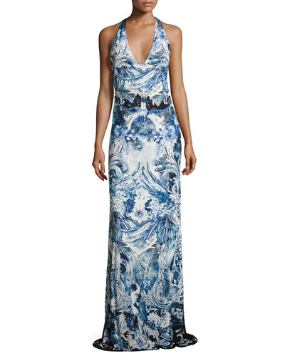 Phoenix-Print Sleeveless Halter Gown, Blue