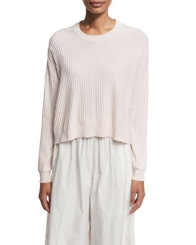 Ribbed High-Low Crewneck Sweater, Light Pink