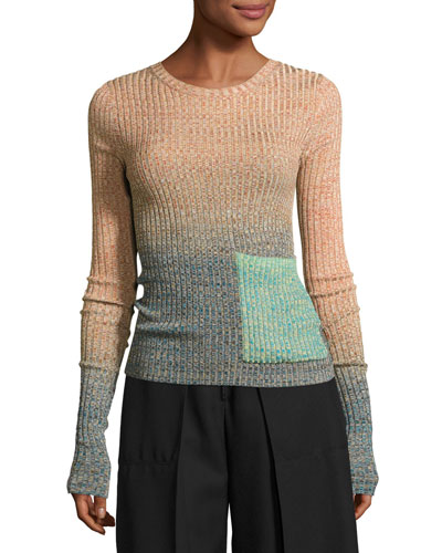 Marled Ombre Patch-Pocket Sweater, Turquoise/Multi
