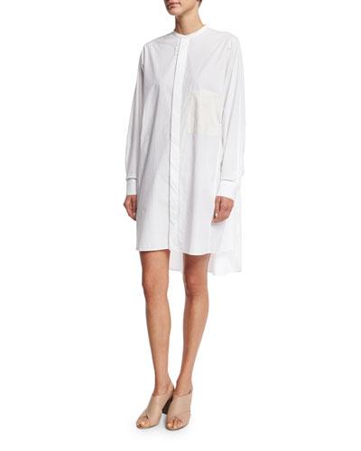 Oversized Long-Sleeve Crewneck Shirtdress, White