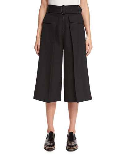 Belted High-Waist Cropped Pants, Black