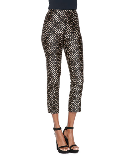 Floral-Print Side-Zip Pants, Black/Suntan