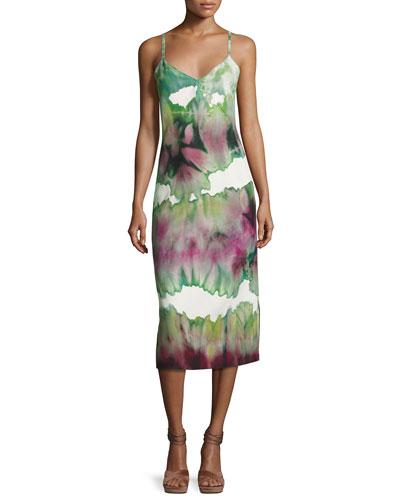Tie-Dye Cami Slip Dress, Green/Multi