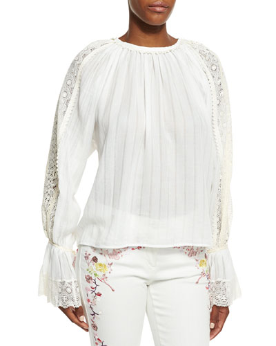 Lace-Trim Voile Peasant Blouse, White