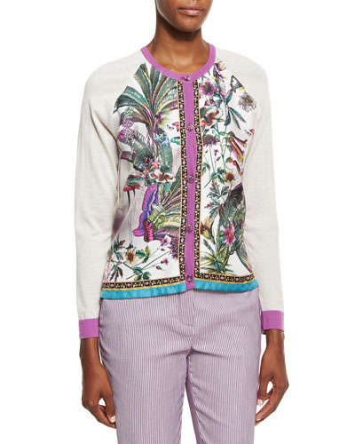 Printed Silk-Front Cardigan, Ivory/Lilac