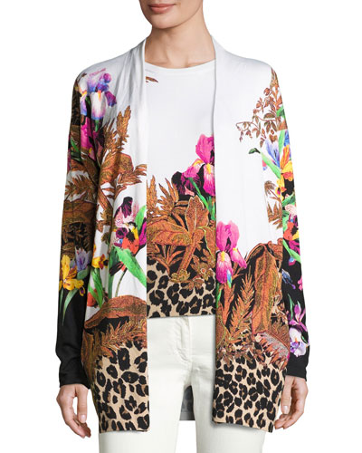 Floral & Animal-Print Stampa Open Cardigan, Black/Multi