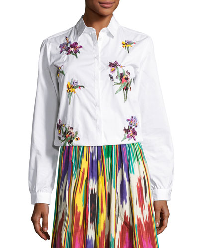 Floral-Embroidered Cotton Blouse, White