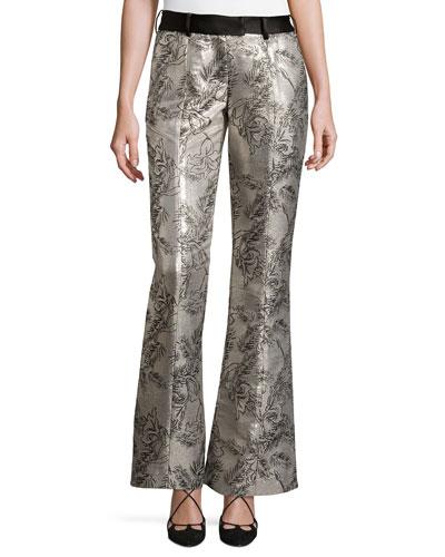 Metallic Jacquard Flared Pants, Silver