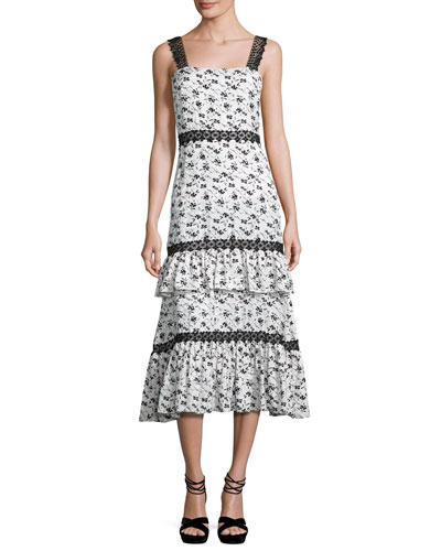Sleeveless Tiered Floral Dress, White/Black