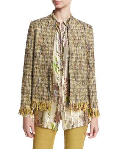 Reversible Tweed Fringe Jacket, Green