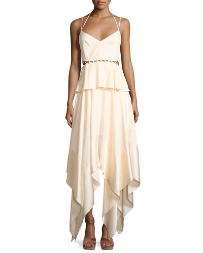 Cutout-Waist Sleeveless Dress, Ivory