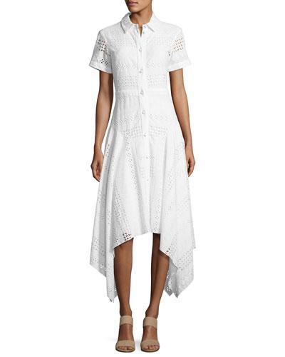 Eyelet Short-Sleeve Shirtdress, Orchid White