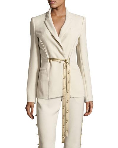 Pearly Tie-Front Blazer, Khaki