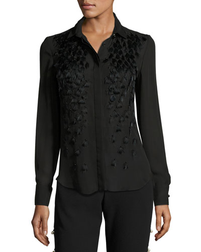 Feather-Embellished Pleated-Back Blouse, Black