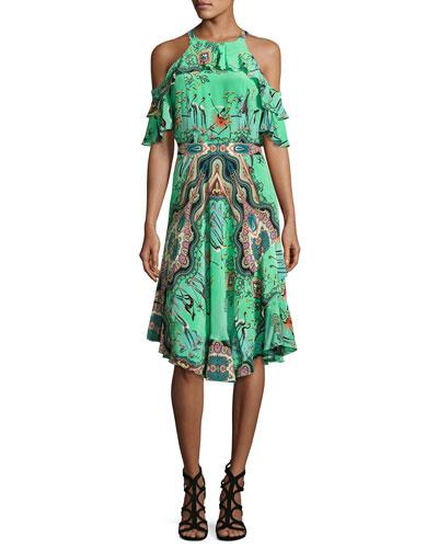 Tropical-Print Ruffled Cold-Shoulder Dress, Mint Green