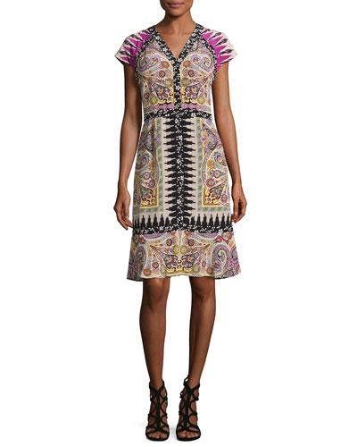 Paisley Floral-Trim V-Neck Flounce Dress, Fuchsia